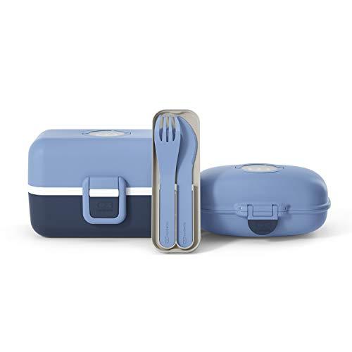 monbento - Pack Lunch box Enfant MB Tresor Infinity lunch box enfant bleue - boite bento repas 3 compartiments, MB Pocket color set de couverts biodegradable avec etui et boîte goûter MB Gram