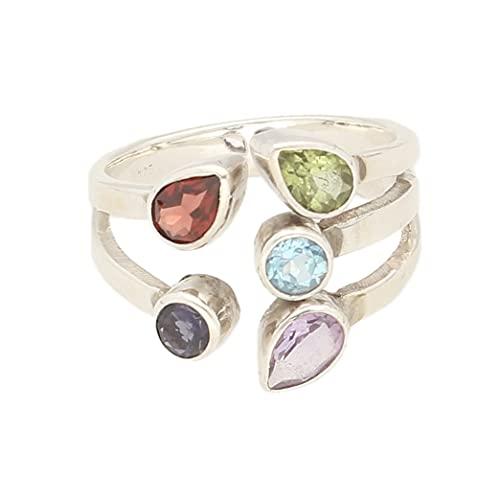 Anillo de plata de ley multigema para mujer, tamaño P 1/2, 16 mm de ancho, anillo de lujo para mujer