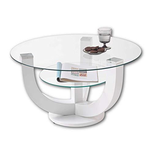Stella Trading DENVER Glas Couchtisch rund in Hochglanz weiß - stylisher Glastisch mit Ablage & geschwungenem Gestell für Ihren Wohnbereich - 80 x 40 x 80 cm (B/H/T)