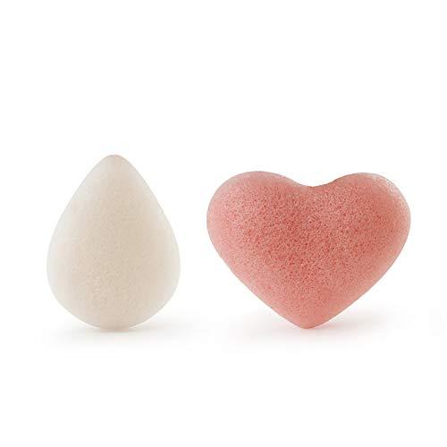 Konjac Lot de 2 éponges en forme de cœur pour le visage