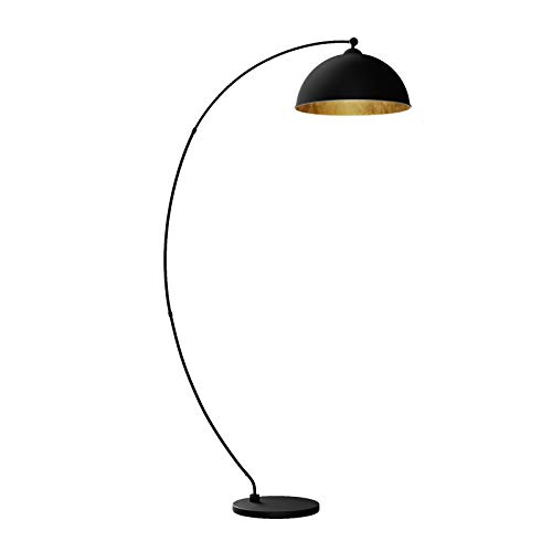 Lindby LED Bogenlampe Schwarz Gold | Stehlampe Metall | Standleuchte | Leselampe-Stehlampe für Wohnzimmer, Esszimmer, Schlafzimmer | Standlampe IP20