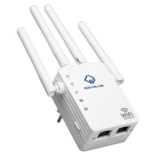 GigaBlue Ultra Repetidor 1200 Mbps 2.4 & 5 GHz AC1200 WiFi Repetidor Super-Boost WiFi 1200 Mbit/s, Dual Band WLAN 3dBi x4 Antenas Compatible con Todos los Dispositivos WLAN, diseño Moderno
