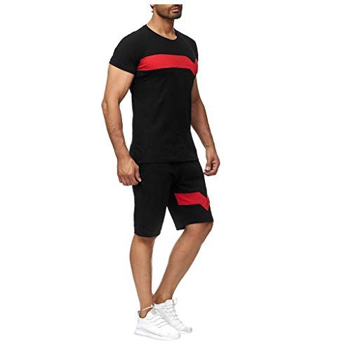 Hombres 2 piezas conjuntos de trajes de gimnasio ropa de correr verano fitness conjunto ocio manga corta pantalones cortos chándal