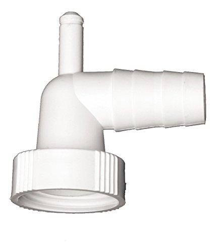 Winkel-Schlauchverschraubung   90 Grad   Zum Anschluss des Ablaufschlauches einer Waschmaschine oder Spülmaschine   Mit Kondensatanschluss für einen Trockner