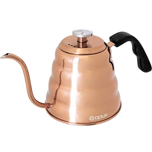 OPUX Gooseneck Kettle for Pour Over Coffee   Copper Kettle for Coffee Tea with Thermometer, Stovetop Pourover Kettle Hand Drip Barista with Long Spout, Exact Temperature Brewing   40 fl oz