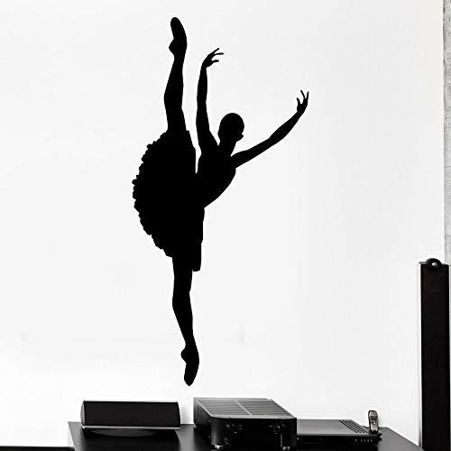HGFDHG Calcomanía de Silueta de Bailarina para Pared, Gimnasia, Baile, Estudio de Baile, niña, Dormitorio, decoración Interior, Vinilo, Adhesivo para Pared, Mural artístico