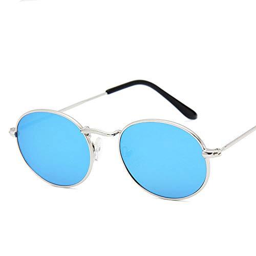 YHKF Gafas De Sol Pequeñas Ovaladas para Mujer, Hombre, Diseñador Vintage, Gafas De Sol para Mujer, Hombre, Montura Metálica Uv400, Retro-Plateado, Azul