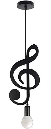 Lampadario a sospensione nero opaco, a forma di chiave di violino o nota musicale dal design moderno - Attacco E27 max 60 watt (Chiave di violino)