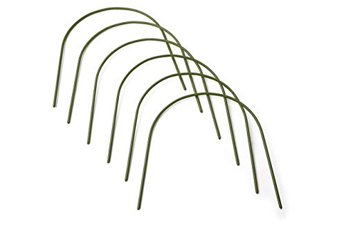 """6 Pack Garden Hoops Raised Bed Stakes for Plant Support Greenhouse Row Cover (20"""" W x 19"""" H) 6 4FT GARDEN HOOPS COME IN A 6 PACK, Each curved hoop pole is made with high quality plastic coated steel pipe to last many seasons. The pole diameter is .43 inches. Once bent, the garden hoop archway height is 19 inches and the width is 20 inches. EASY SET UP, NO TOOLS OR STAKES REQUIRED, Pre sharpened points on both sides of the pole allow for easy placement directly into the ground or raised beds. The hoops are washable, reusable, and lay flat for storage. COST EFFECTIVE MINI GREENHOUSE STRUCTURE, Use all 6 hoops to create a support framework that can be covered with your own choice of plant protection insulation film. Extend the growing season with a DIY cold frame designed with a hoop frame."""