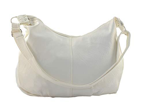Star-Trends Handtasche Damen Schultertasche Weiss Shopper Bag Tasche Umhängetasche Henkeltasche Damentasche Schultasche Tasche für Schule Studium 45/32/17 cm (Breite*Höhe*Tiefe) (Weiß)