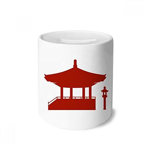 DIYthinker China-Pavillon Kultur Silhouette Muster-Geld-Kasten Sparkassen Keramik Münzfach Kinder Erwachsene 3.5 Zoll in Height, 3.1 Zoll in Duruchmesser Mehrfarbig