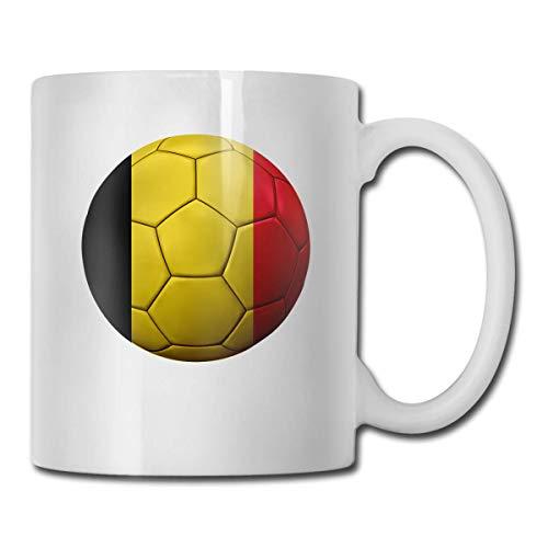 Wereld Voetbal Peru Vlag Koffiemok, 11 Oz Koffiemok, Grappige Koffiemok Thee Beker, Nieuwigheid Verjaardagscadeau Ideeën voor Mannen Vrouwen Eén maat België Vlag Voetbal