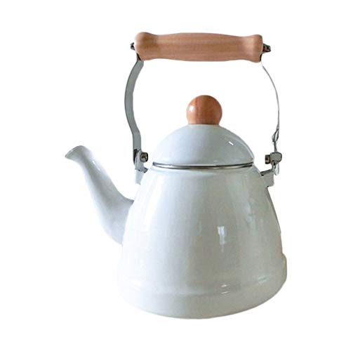 Wasserkessel Weiße Emaille Idylle 1.4L Verdickung Wasserkocher Krug Teekanne Elektromagnetische Verdickung Teekessel