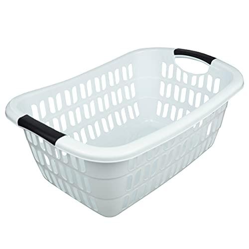 HRB Wäschekorb Plastik (weiß), 44L Wäsche Box Volumen, Wäschesammler mit 55 x 37 x 20 cm Außenmaß, Wäsche Sortierer groß, Aufbewahrungskorb