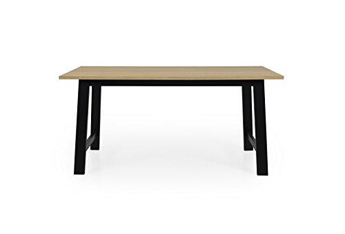 Tenzo 2780-054 Lex Designer Table de Salle à Manger rectangulaire, Noir, Plateau recouverts de placage chêne. Pieds en Panneaux MDF laqués et Bouleau Massif, 75 x 160 x 90 cm (HxLxP)