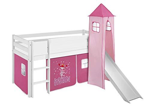 Lilokids Lit Mezzanine JELLE Princesse - lit d'enfant Blanc - avec Toboggan, Tour et Rideau - lit 90x190 cm