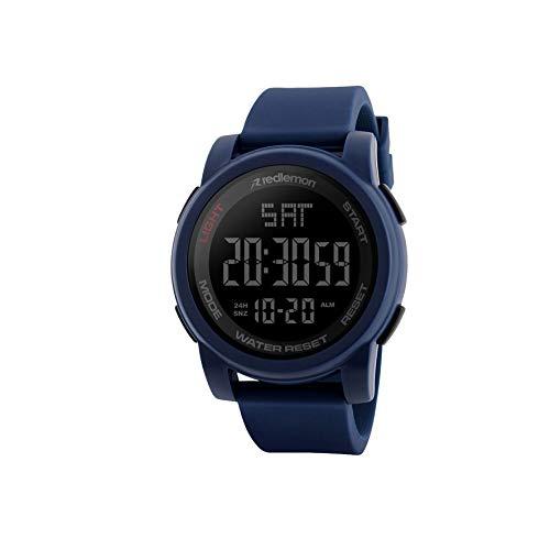 Redlemon Reloj Deportivo con Pantalla Digital, Resistente al Agua, Pantalla Retroiluminada, con Cronómetro, Alarma, Dual Time, Temporizador, Correa Ajustable, Modelo 1257 Azul