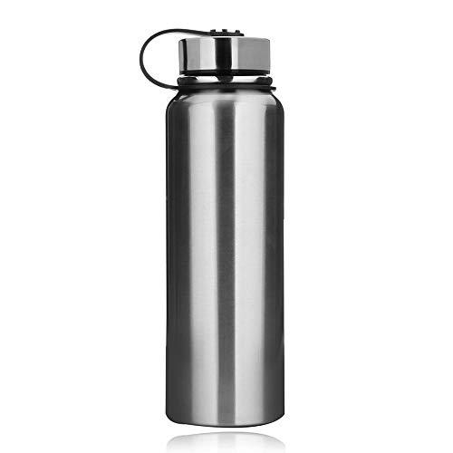 YYW - Borraccia termica in acciaio INOX, 1,5 l, con coperchio a tenuta stagna, riutilizzabile, in metallo, 1500 ml, 330 x 95 mm, colore: Argento