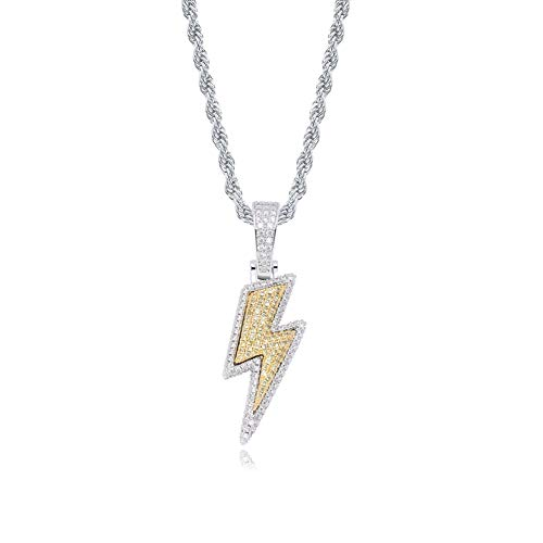 JINAO Hip Hop Lightning Bolt Design Pendant 18k Gold Plated Iced Out CZ Pendant Necklace with Micropave Simulated Diamond for Men Women (Two Color)