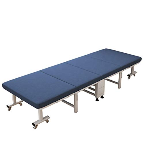 """GHZ The Best Single Folding Bed-Mattress Depth of 10 cm 2'7"""" x 6'3"""" Size 80x190 + Memory Foam Pillow, Blue or Blue Covering, Strong Iron Frame and Wooden Board, Free for Guests or Children"""