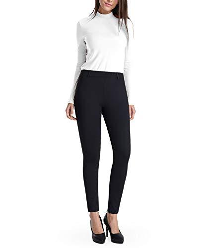 Balleay Art Women's Work Pull-On Straight Leg Yoga Dress Pants, Belt Loops, Dress Yoga Pants for Office, Long Workout Pants (Black, X-Large)