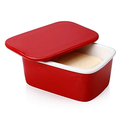 Sweese 320.104 Butter Dish with Lid, Perfect for 2 Sticks of Butter and 8oz Butter, Easy to Clean - Porcelain, Red