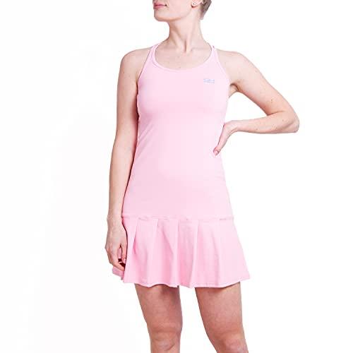 Sportkind Mädchen & Damen Tenniskleid mit gekreuzten Trägern, UV-Schutz, atmungsaktiv, Hellrosa, Gr. 134