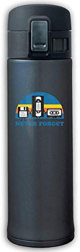 Never Forget - Floppy Disk, VHS, and Cassette Tape Stainless Steel Mug,Stainless Steel Thermos,Bouncing Cover Insulation Vacuum Cup