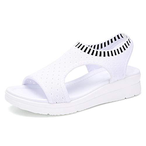 Sandales compensées pour Femmes, Bande élastique, Confort pour Dames, Chaussures Ouvertes, Sandales Spartiates