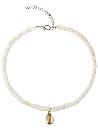Puka Shell Necklace Adjustable Handmade Clam Chips Shell Necklace Choker Hawaii Beach Surfer Necklace with Gold-plated Shell Pendant for Women Girls (14, Circle)
