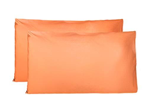 FARFALLAROSSA Coppia di Federe 100% Puro Cotone, Set di 2 Tessuti per Cuscino Letto Made in Italy, Chiusura a Busta, Tinta Unita, Misura Standard 50x80 CM