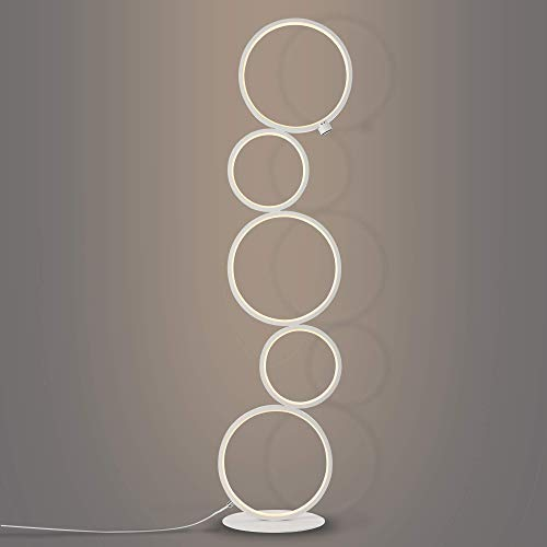 Modern LED Floor Lamp Unique Touch Control Dimmable Light 39 Inches Tall Contemporary Standing 24W 1600 Lumen for Living Room Bedrooms Office, White