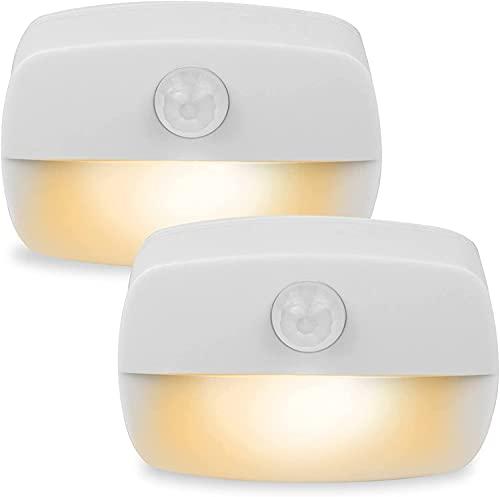 Luce notturna a LED adesiva, luce sensore di movimento PIR, spegnimento automatico, alimentazione a batteria 3A, per armadio, guardaroba, corridoio, servizi igienici, scale (2 pezzi Bianco caldo)