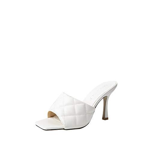 MACKIN J 225-28 Women's Square Toe Heel Sandals Pleather Strap Kitten Heel Sandals(9, White)