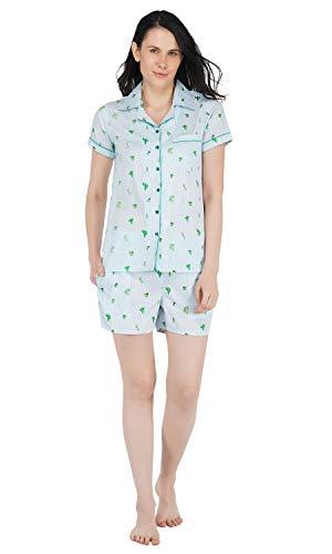BHUMANTE Women Polycrepe Shirts and Shorts Nightwear Set (Medium, Cactus Print)