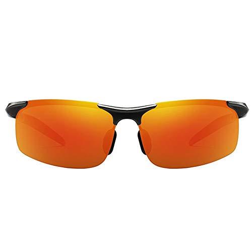 MGWA Gafas De Sol UV400 Deportivas De Día Y Noche De Doble Fotograma Polarizadas De Aluminio Y Magnesio. Gafas De Sol De Moda for Lentes De Sol De Cuadro Negro con Lentes De Color Naranja.