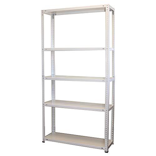 NAWA Home & Work Estantería Metalica 5 Baldas. Ideales para despensa, el sótano, el garaje, trastero o la oficina (Blanco)