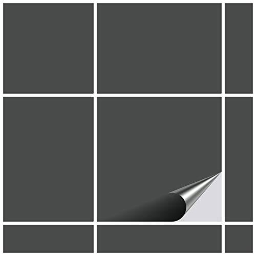 FoLIESEN Fliesenaufkleber 15x15 cm - Fliesen-Folie Bad - Klebefolie Küche - 80 Klebefliesen, Dunkelgrau glänzend