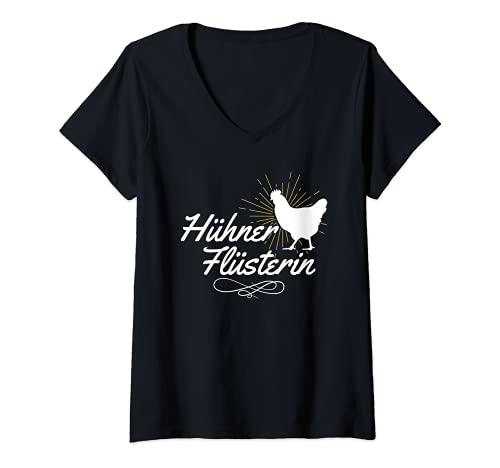 Damen Hühner Flüsterin Bauernhof Henne Geflügel Huhn Liebe T-Shirt mit V-Ausschnitt