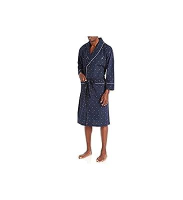 Nautica Men's Long Sleeve Lightweight Cotton Woven Robe,Peacoat,Large/X-Large