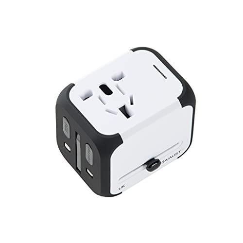Adaptador de corriente universal para viajes inter Adaptador internacional para viajes, adaptador de viaje con 2 cargadores USB, Tipo C, Toma de CA en todo el mundo para el Reino Unido EE. UU. Au Asia