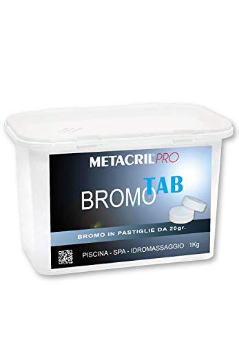 Metacril Bromo Tab – Bromo en tabletas de 20 g – 1 kg – Ideal para piscina o hidromasaje (Teuco, Jacuzzi, Dimhora, Intex, Bestway, etc.).