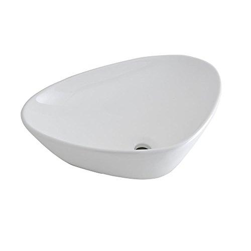 Hudson Reed Aufsatz- & Hängewaschbecken 590mm Breite Kenton - Moderne Waschschale aus Keramik in Weiß Dreieckig - Waschbecken Waschtisch