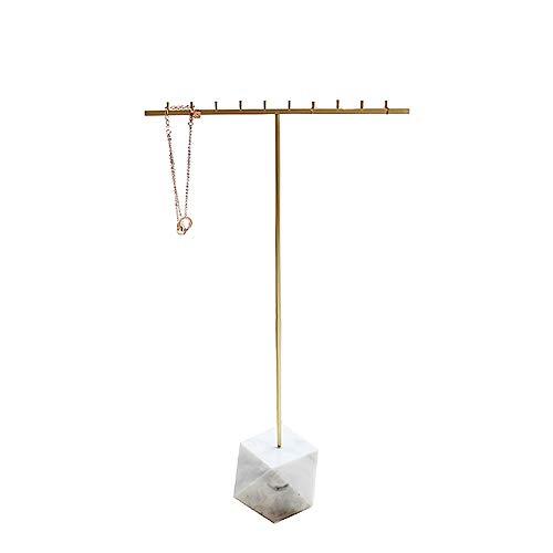 PULLEY Soporte para collar, exhibición de joyería de mármol de latón, hogar, almacenamiento de joyas, estilo nórdico (color: blanco)