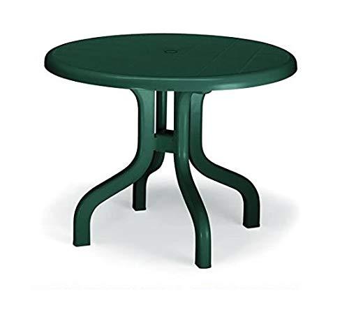 ALTIGASI Table pour extérieur Pol résine Vert diamètre 95 cm avec Plan naturbox pour optimiser l'espace – 4 Pieds réglables – Fabriqué en Italie