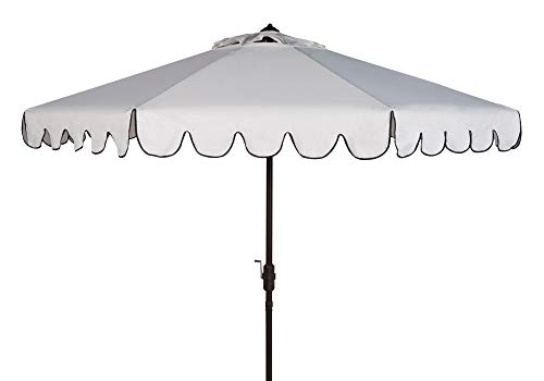 Safavieh PAT8010E Collection Venice White and Black Single Scallop 9Ft Crank Outdoor Push Button Tilt Umbrella