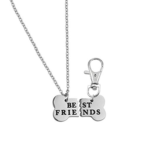 Best Friend Bone Necklace Dog Tag Collar Charms Keychain BFF Engraved for Pet Lover Jewelry Matching Gift Stainless Steel (Silver)