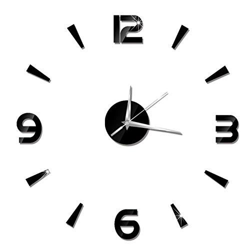 Yuehao Orologio da Parete, Orologio da Parete Adesivo Fai da Te Orologio da Parete Moderno Senza Cornice 3D Adesivi Specchio Numeri Romani Orologio da Parete d'Arte Home Decor Crafts Big Watch(Nero)