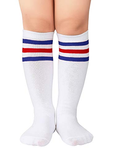 Century Star Kids Child Sport Soccer Socks Knee High Tube Socks Three Stripes Cotton Cute Stocking for Boys Girls 1 Pair White Blue Red One Size