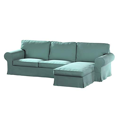 Dekoria Ektorp 2-Sitzer Sofabezug mit Recamiere Sofahusse passend für IKEA Modell Ektorp mintgrün